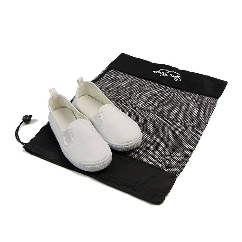 Black Mesh And Nylon Drawstring Shoe Packing Small Canvas Bags