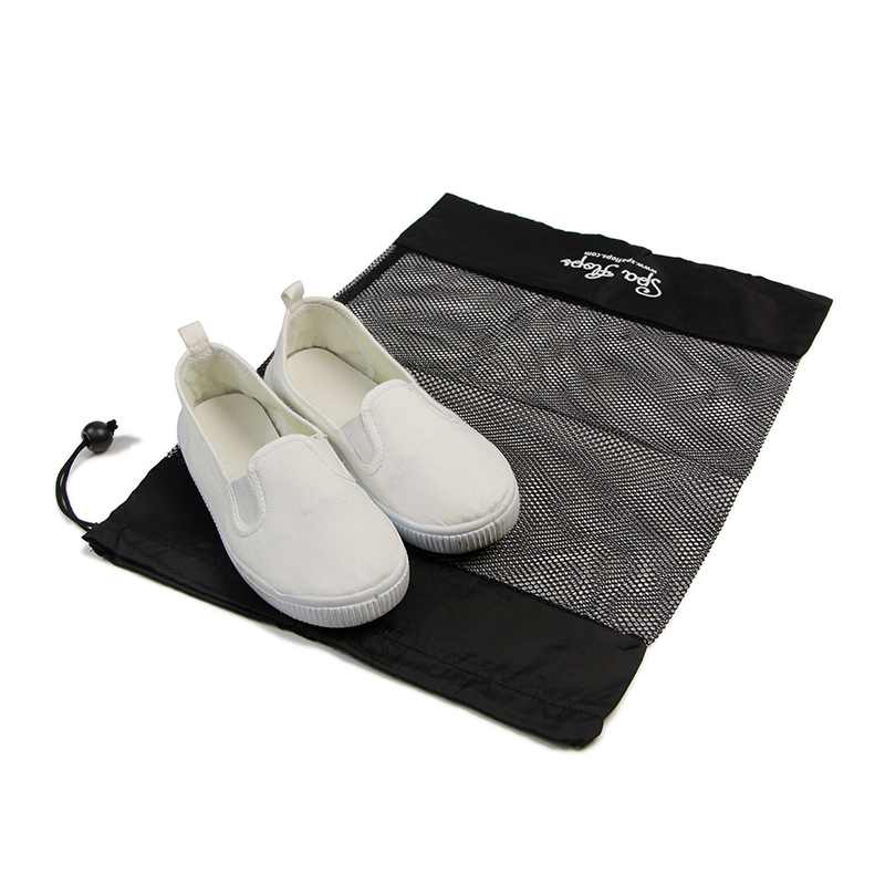 Black Mesh And Nylon Drawstring Shoe Packing Small Canvas Bags