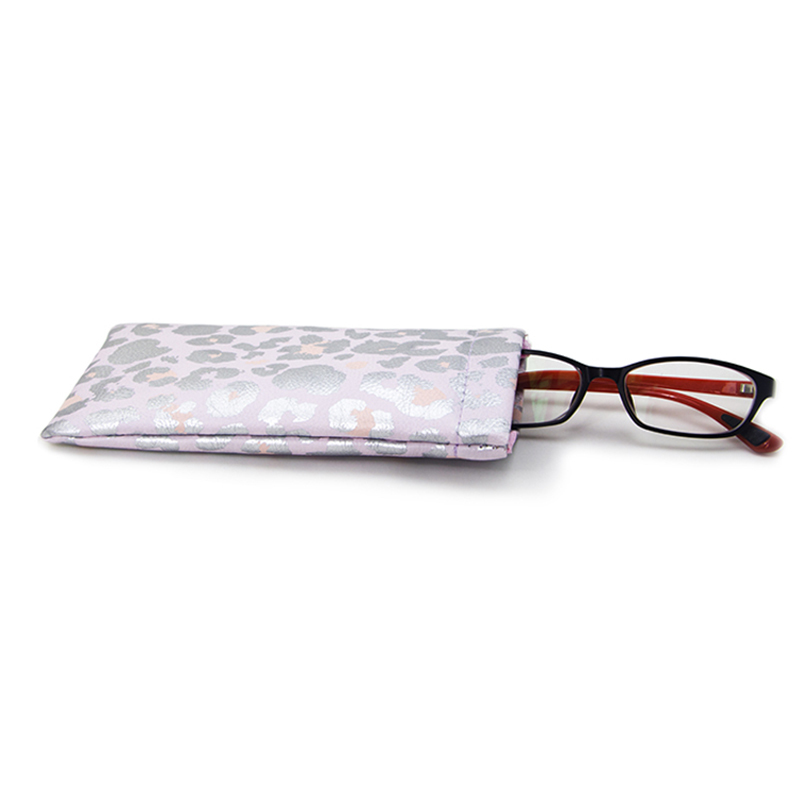 Silver Full Printing Pu Leather Glasses Pouch With Spring Clip Closure