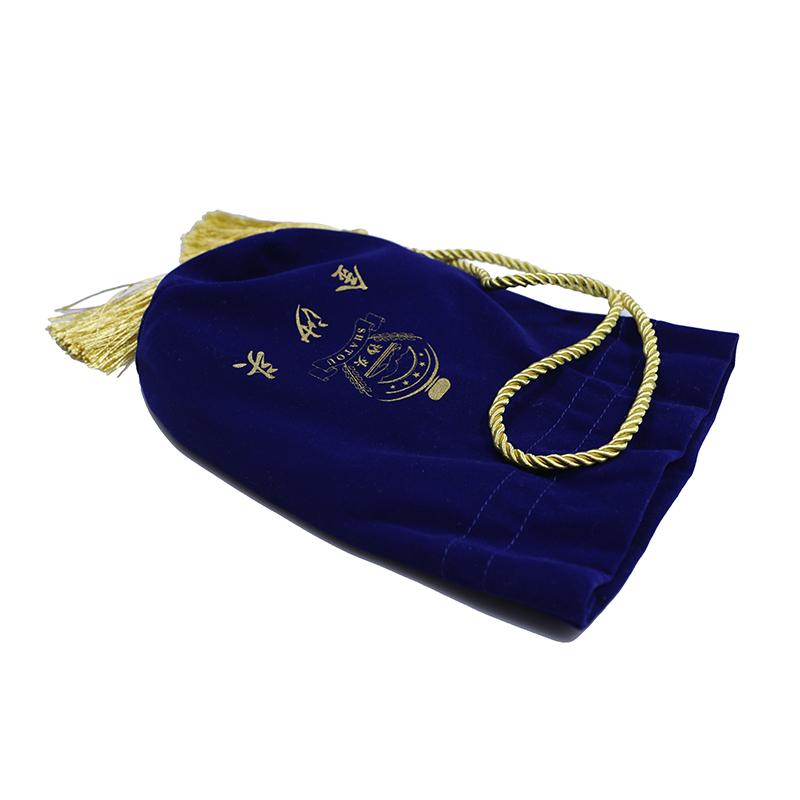 High Quality Blue Velvet Drawstring Wine Bottle Cosmetic Bags Wholesale