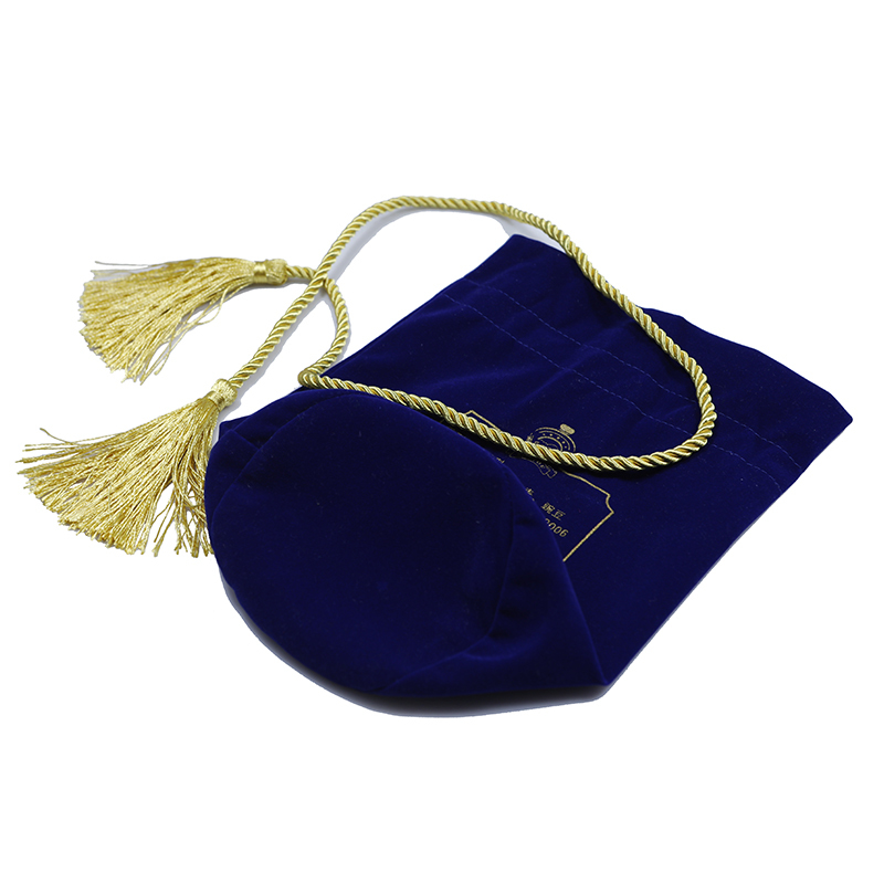 High Quality Blue Velvet Drawstring Wine Bottle Bag