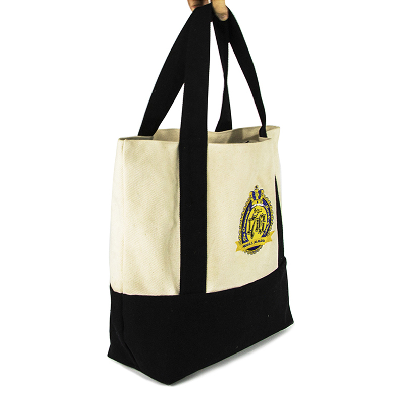 Heavy Cotton Canvas Tote Shopping Bag With Embroidery Logo