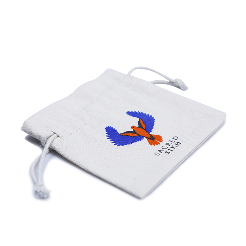 White Cotton Canvas Drawstring Packaging Bag
