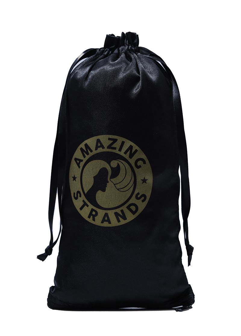 Custom Black Satin Drawstring Hair Packaging bag printed logo