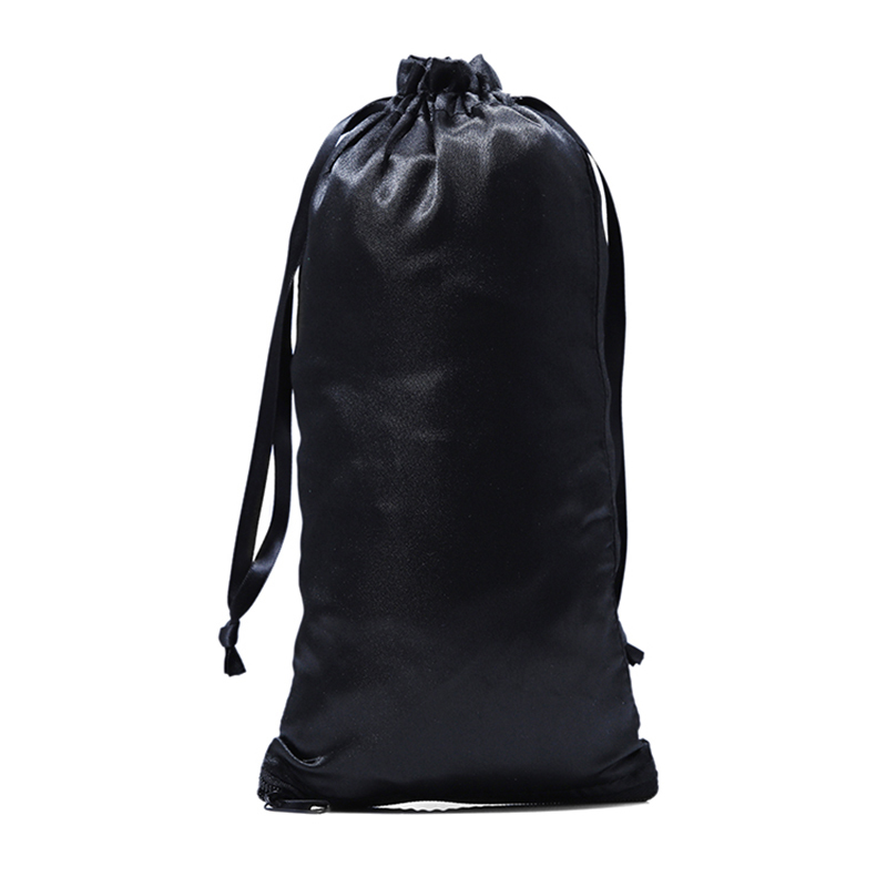 Black Satin Drawstring Hair Packaging Bag