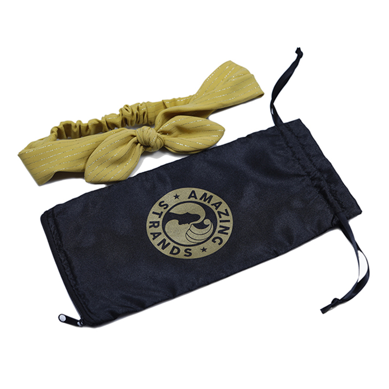 Custom Black Satin Drawstring Hair Packaging bag printed logo