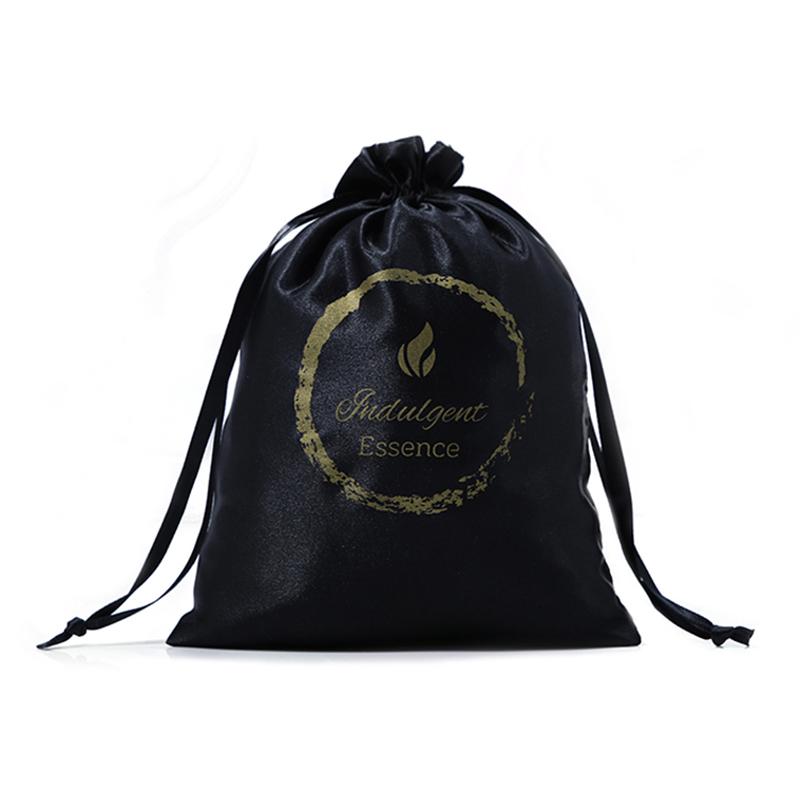 Printed Logo Soft Satin Bags Drawstring Jewelry Packing Bag
