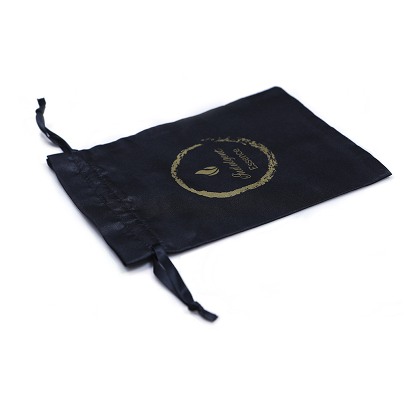 Printed Logo Soft Satin Bags Drawstring Jewelry Packing Bag