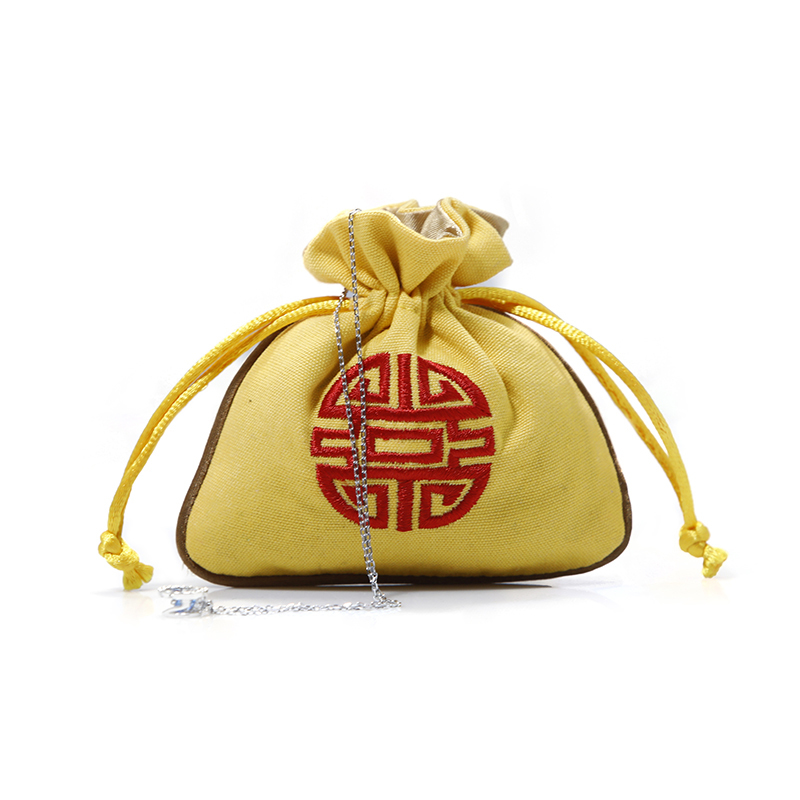 Double Layers Cotton Canvas Jewelry Drawstring Bag With Embroidery