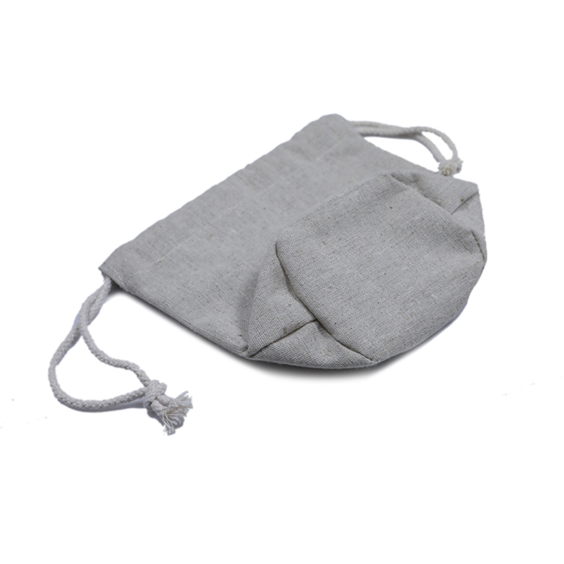Natural Linen Pouch With Coating Drawstring Bag Cosmetic Pouch