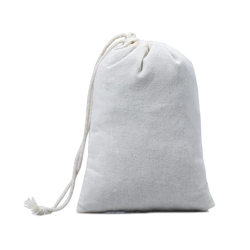 Printed Logo Cotton Shopping Bags Drawstring Packaging Bag