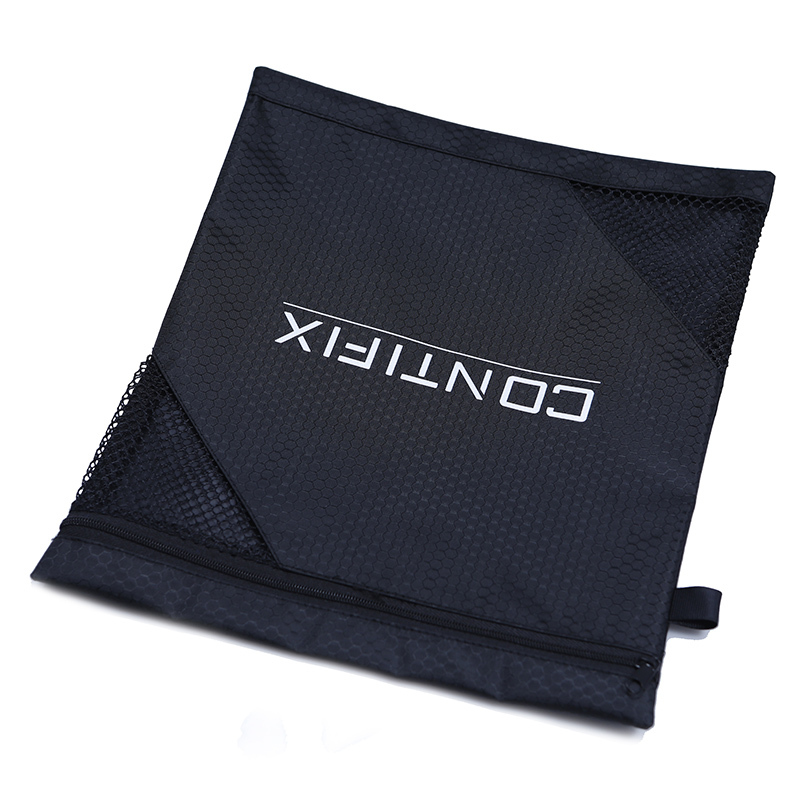 Black Pvc With Mesh Packaging Zipper Polyester Bag