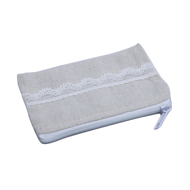 Mini Linen Jewelry Pouch With Lace
