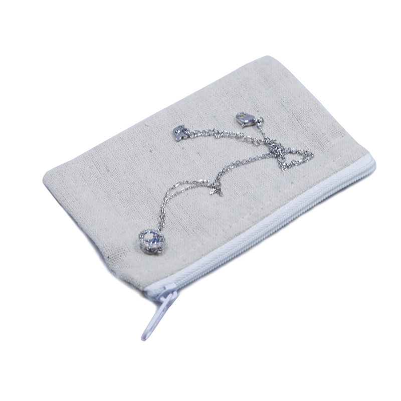 Mini Jewelry Linen Pouch With Lace
