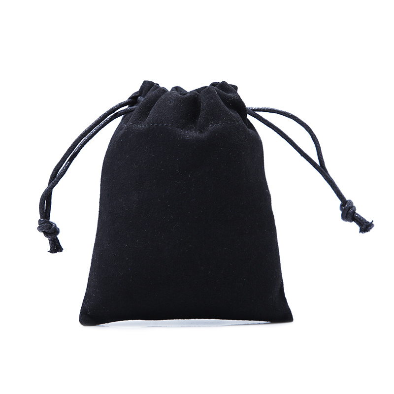 Black Suede Gift Packaging Jewelry Drawstring Pouch