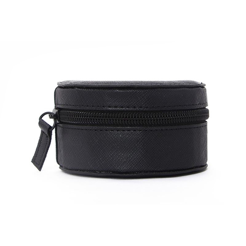 Portable Small Round Pu Leather Watch Box
