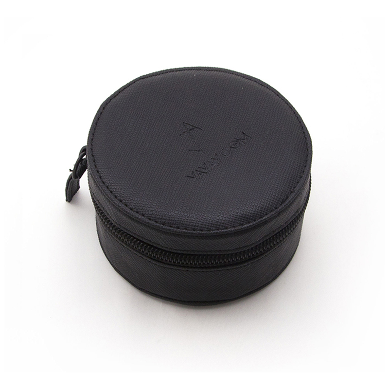 Portable Small Round Pu leather Jewelry Box