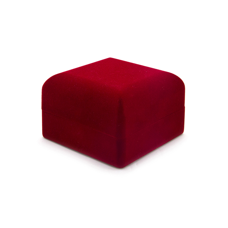 High Quality Small Red Velvet Jewelry Ring Crushed Velvet Box