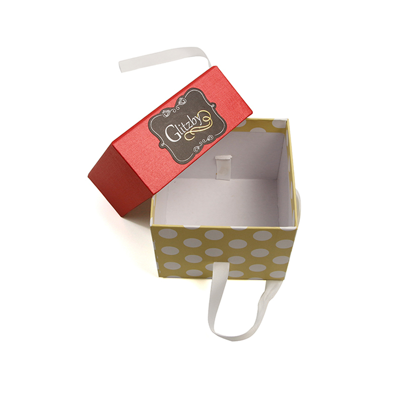 Portable Paper Cardboard Gift Box With Ribbon