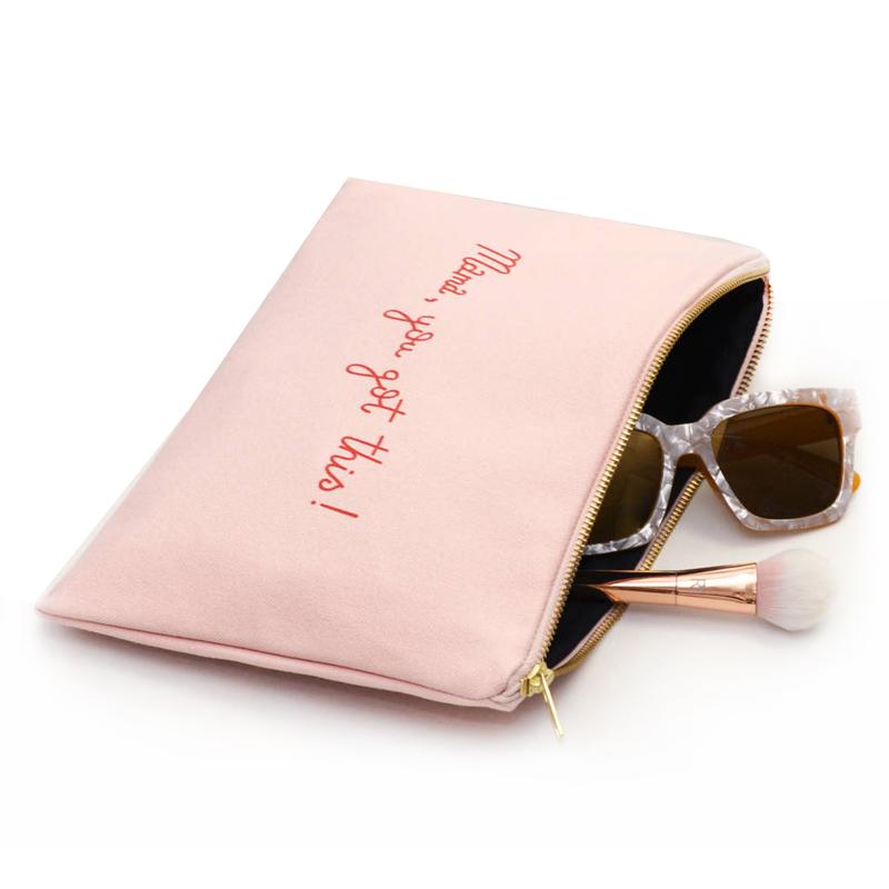 Beautiful Pink Cotton Canvas Cosmetic Zipper Bag