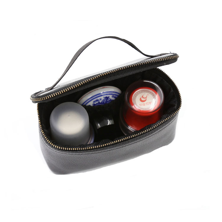 Multifunctional Black Pu Leather Travel Cosmetic Makeup Bag