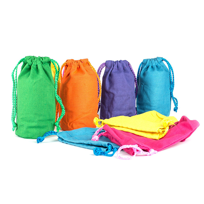 Various Color Cotton Wholesale Canvas Bags Rounded Bottom Drawstriing Bag
