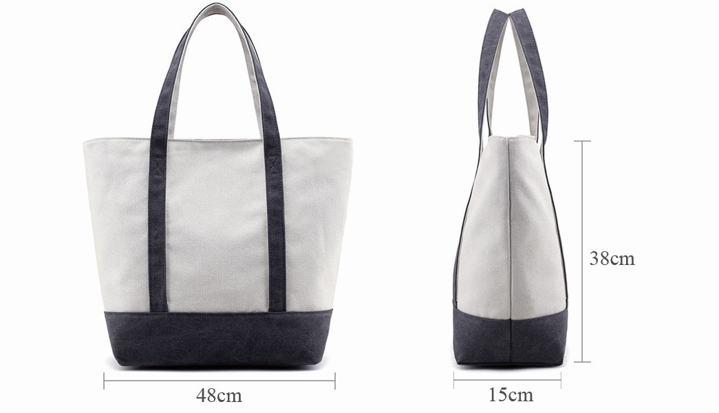 Yonghuajie blank canvas tote bags with zipper striped for cosmetic