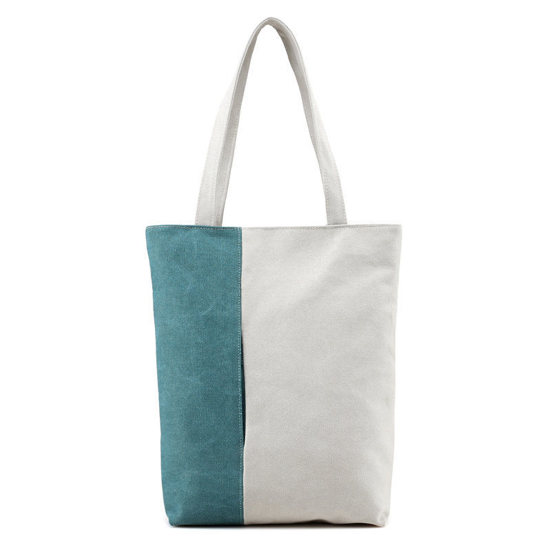 Two Colors Durable Cotton Canvas Tote Shopping Bag