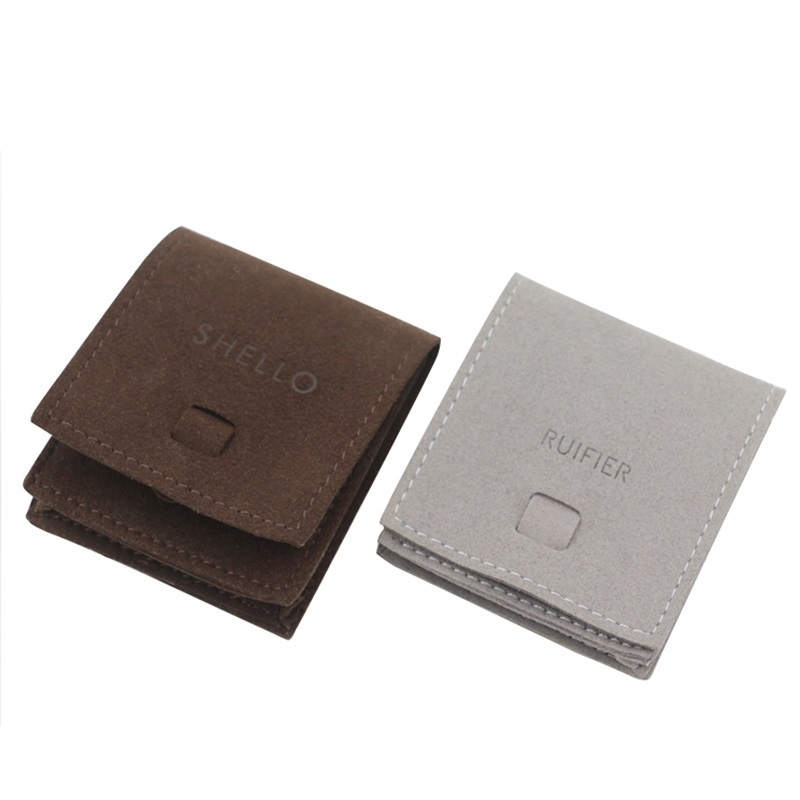 High Quality Suede Jewelry Pouch With Flap