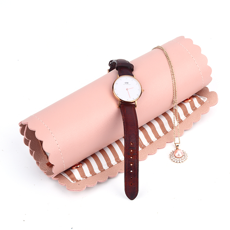 Luxury Pu Leather Jewelry Roll Custom Makeup Bags