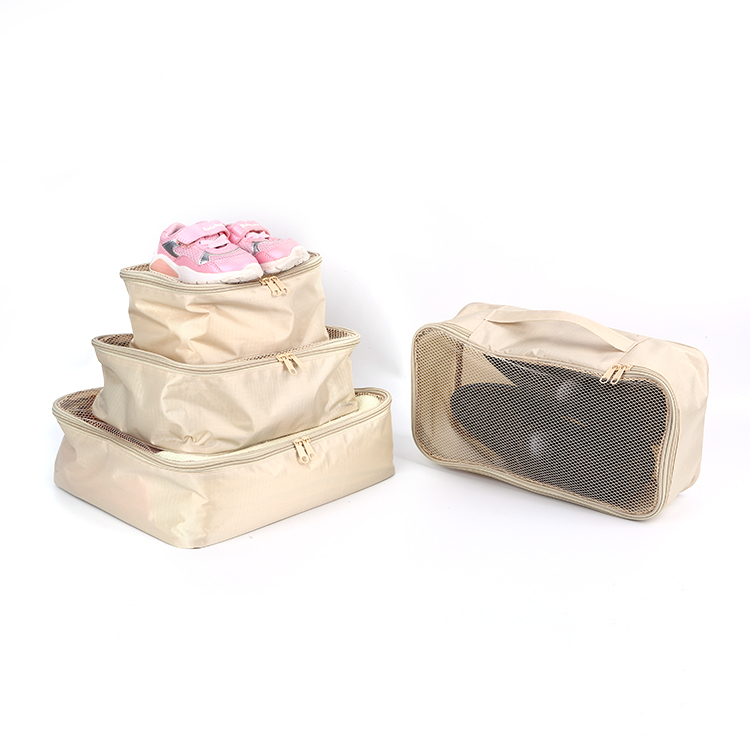 Ripstop nylon with mesh travel packing cubes