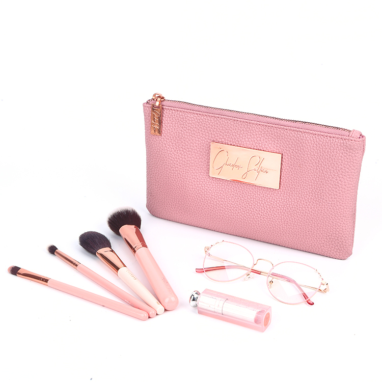 Fashion pink pu leather zipper make up bag travel organizer clutch bag