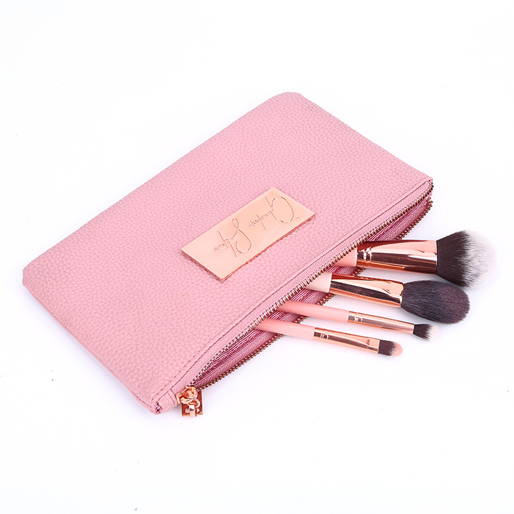 Fashion pink pu leather zipper make up bag travel organizer clutch bag