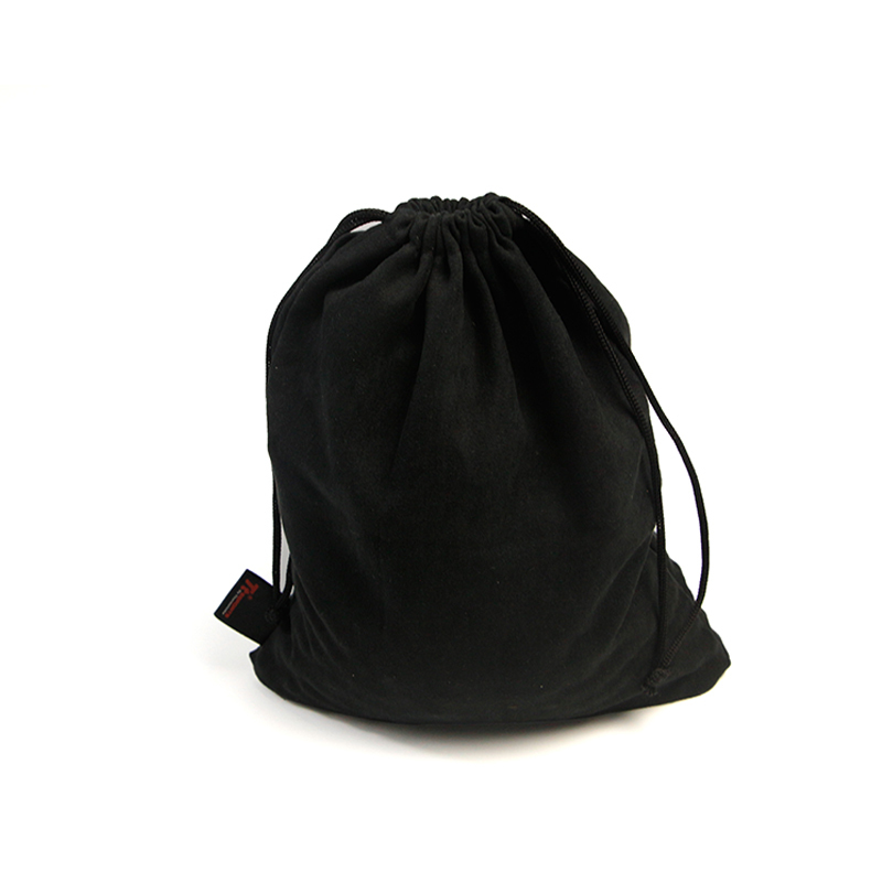 Packaging jewelry gift makeup drawstring black faux suede pouch