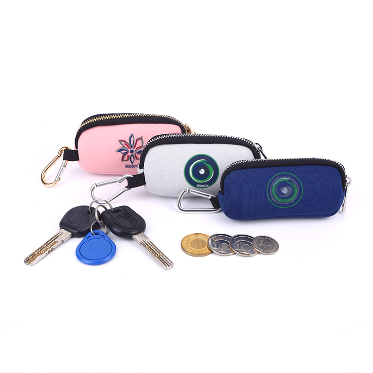 Mini Neoprene Pouch Coin Key Organizer Zipper Bag