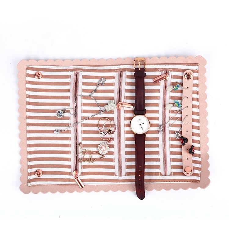 Custom Pink Wave Shape Edge Design PU Leather Jewelry Roll Bag