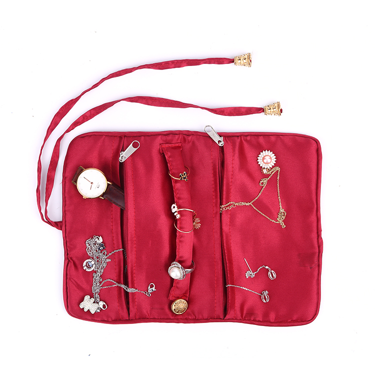 High quality customized red lady jewelry pouch organizer bag