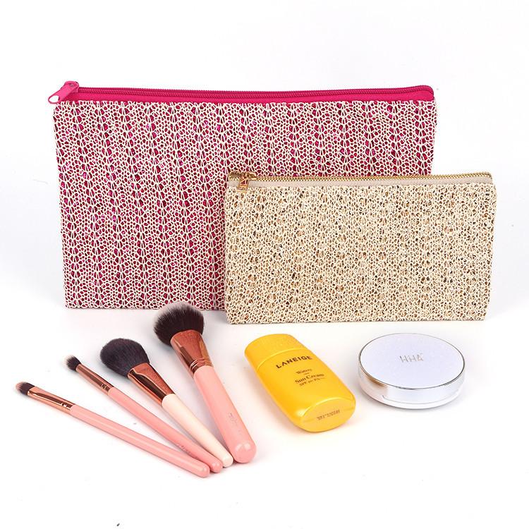 Popular design gold glitter sequin travel cosmetic yellow storage bag