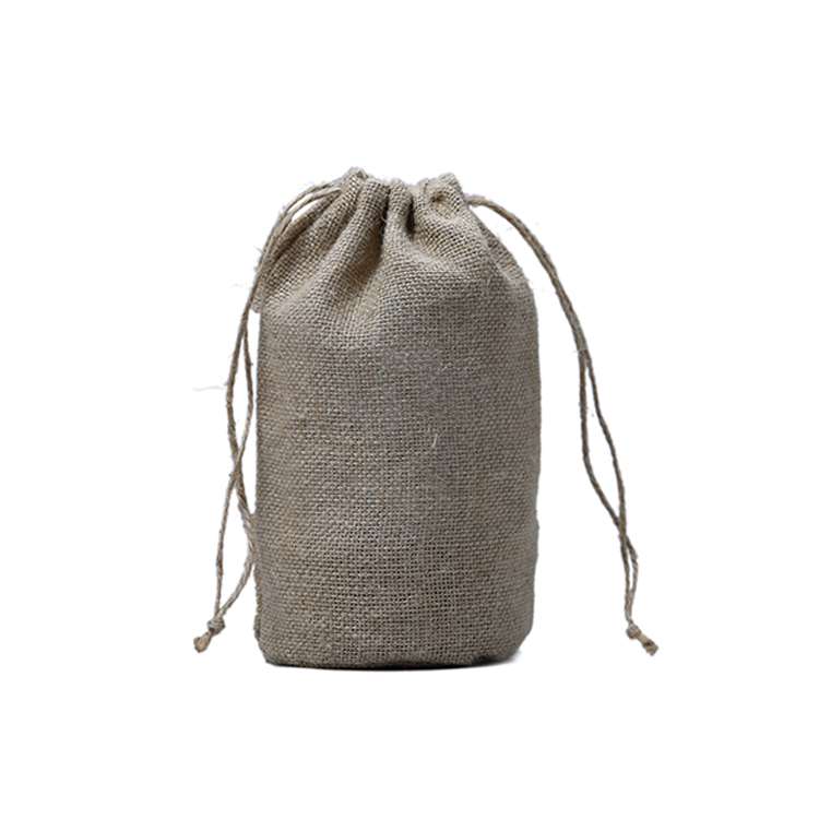 Wholesale custom Logo drawstring jute pouch burlap cosmetic bags