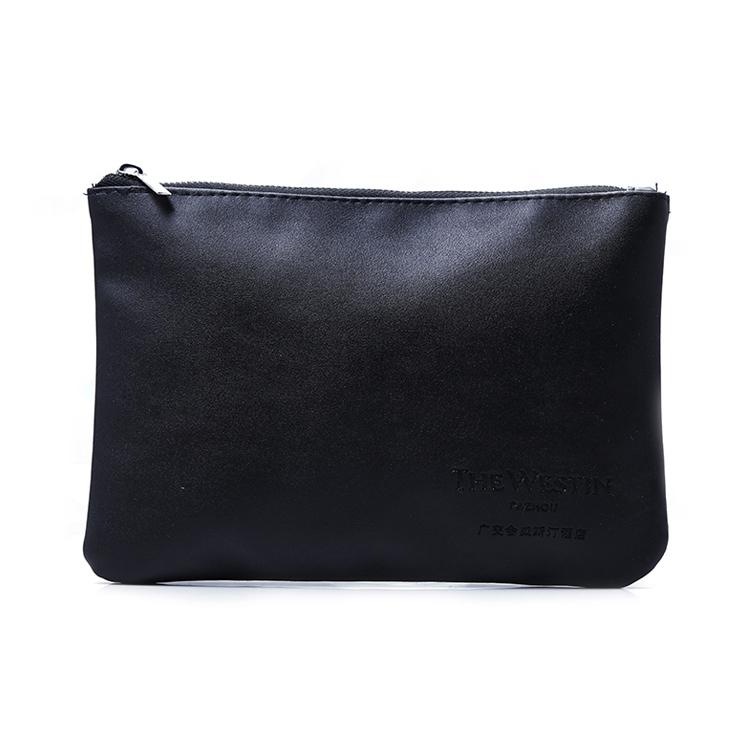 Hot sell women silver metal zipper pu leather cosmetic bag