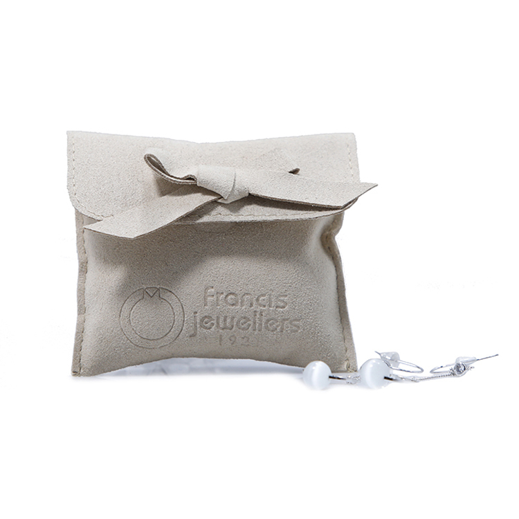 Custom new style suede pouch jewelry bag with logo