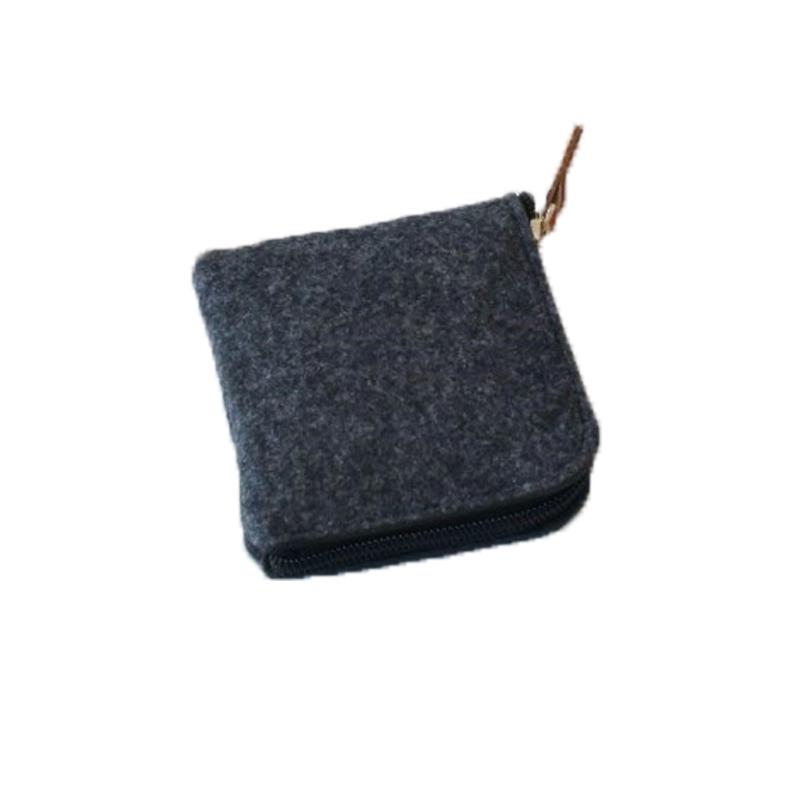 Wholesale Black Mini Zip Felt Tote Bag Jewelry Coin Earphone Storage Bag