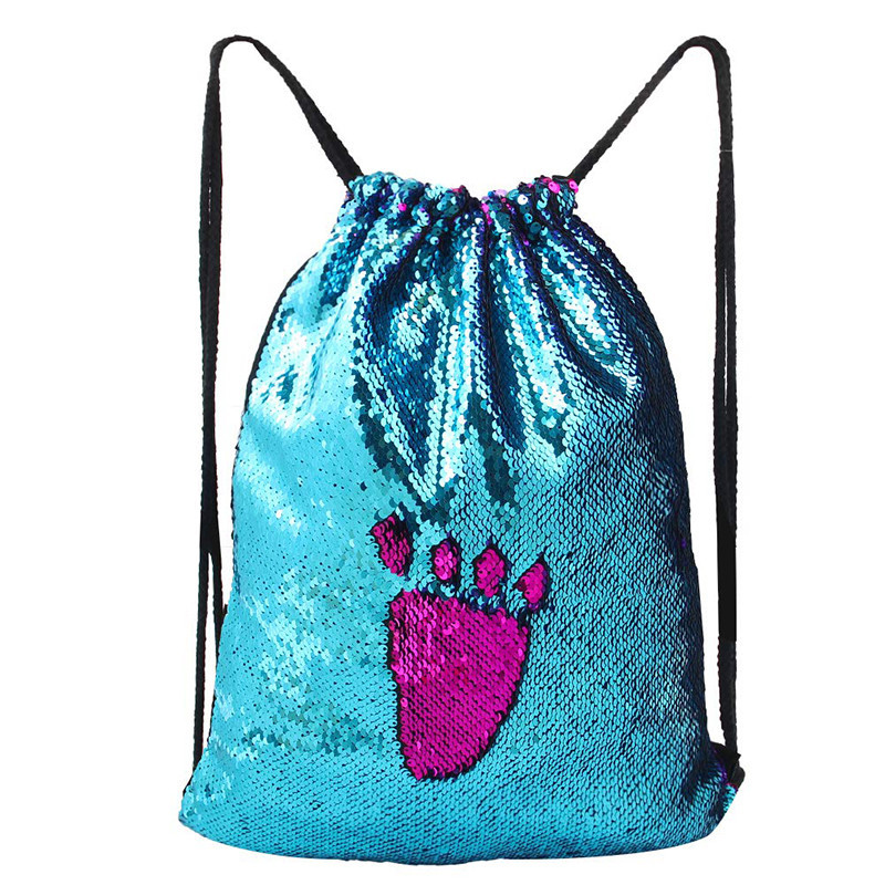 Custom Gift Bags Design Sequin Drawstring Mermaid Backpack Pouch