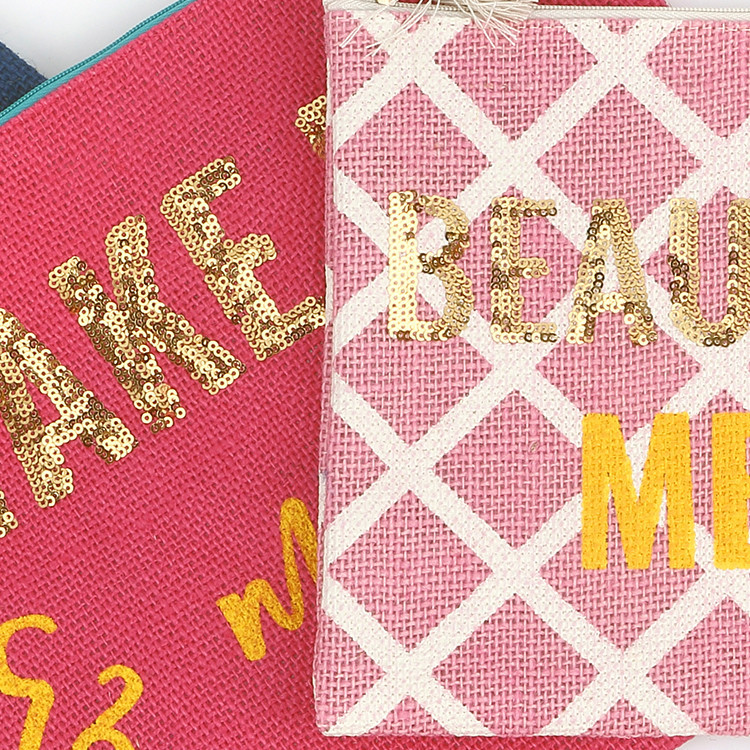 Hot Sell Travel Make Up Jute Bags Manufacturers With Blingbling Sequins Custom Logo