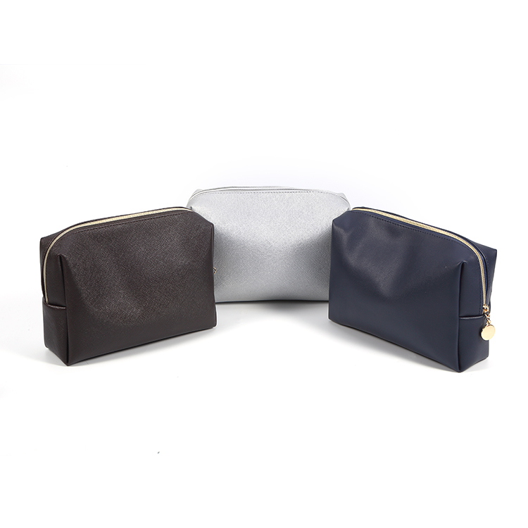 Easy to clean waterproof saffiano fabric pu leather travel makeup bag