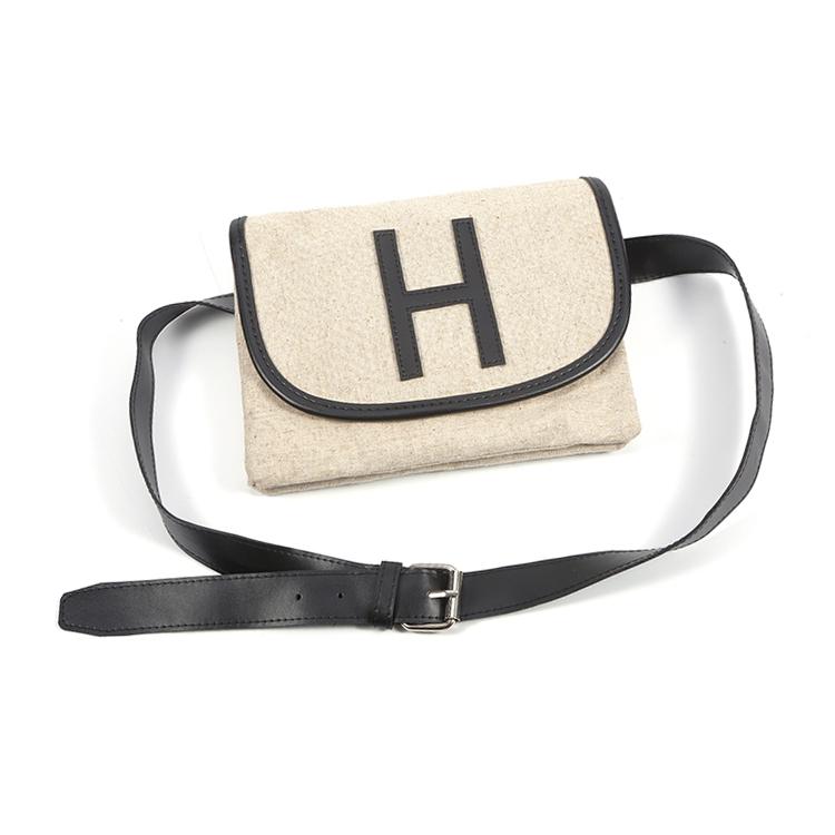 Custom logo natural linen material running belt waist bag