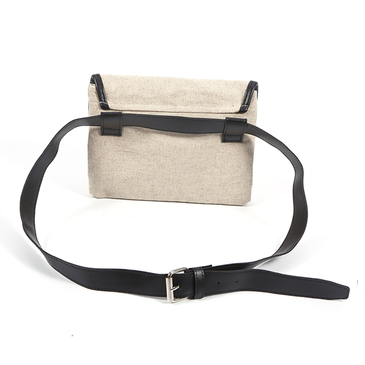 Custom logo natural linen material running belt waist bag