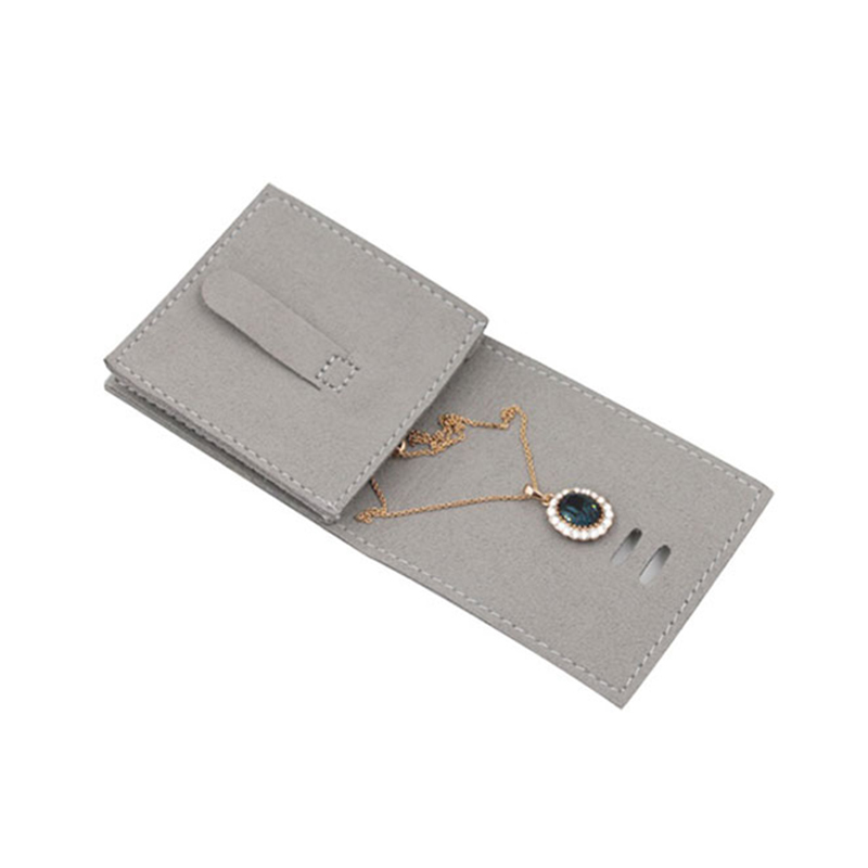 Custom Flap Embossing Suede Jewelry Pouch Bag With Logo