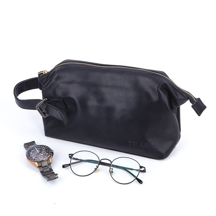 Custom black zipper original pu leather bag for men