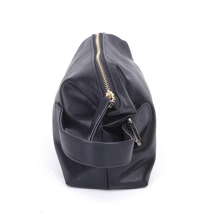 Custom black zipper original pu leather bag for men